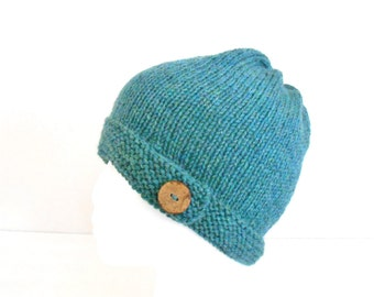 Hand Knit 100% Wool Hat - Hand Knit Women's Button Hat - Mother's Day Gift  - Knit Wool Winter Hat  - Wool Beanie for Teens - Wool Tam