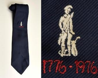 Mens Vintage 70s 1976 1776 Navy Blue Bicentennial Necktie Neck Tie Patriotic Fourth of July Red White Blue