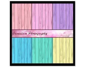 Digital Summer Scrapbook, Pastel Wood Grain Paper, Printable Scrapbook Paper, Instant Download