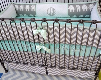 Elephant  Gray & Mint Baby Bedding Perfect for a gender neutral nursery  Choose Bumper or Rail Guard for your Set!