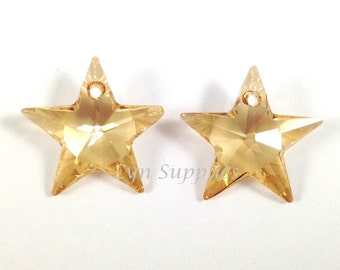2pcs 20mm GOLDEN SHADOW 6714 Swarovski Crystal Star Pendant