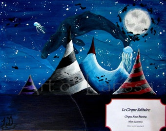 """Sale! The Lonely Circus: Underwater Circus. Mixed media on canvas, original painting. Study of a circus. 8"""" x 10"""" unframed."""