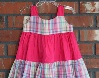 24months/2T - Pink/Green/Blue Plaid with Pink Middle Tier Sun Dress