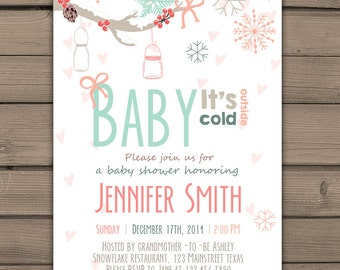 Baby its cold outside Baby Shower invitation Winter Baby Shower invite Mason jars Snowflakes Gender neutral Digital PRINTABLE BICP