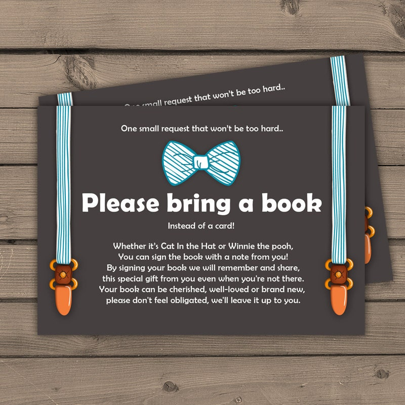 Instead Of Card Baby Shower Insert Elephant Baby Book Request Card