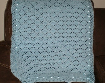 Blue crochet baby blanket with blue ribbon 33 in/27 in.