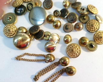 Vintage Brass Metallic Buttons Assorted Lot of 47