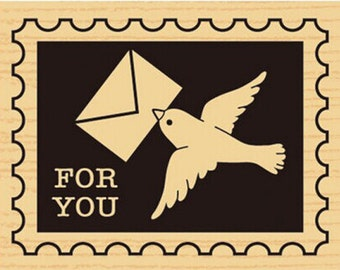 Carrier Pigeon Wooden Rubber Stamp--Diary stamp--Scrapbooking--For You