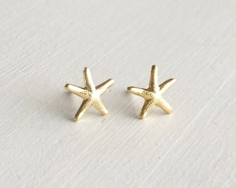 Tiny Starfish Post Earrings - Gold Starfish Earrings - Everyday Jewelry - Bridesmaid Gift - 14kt Gold Filled
