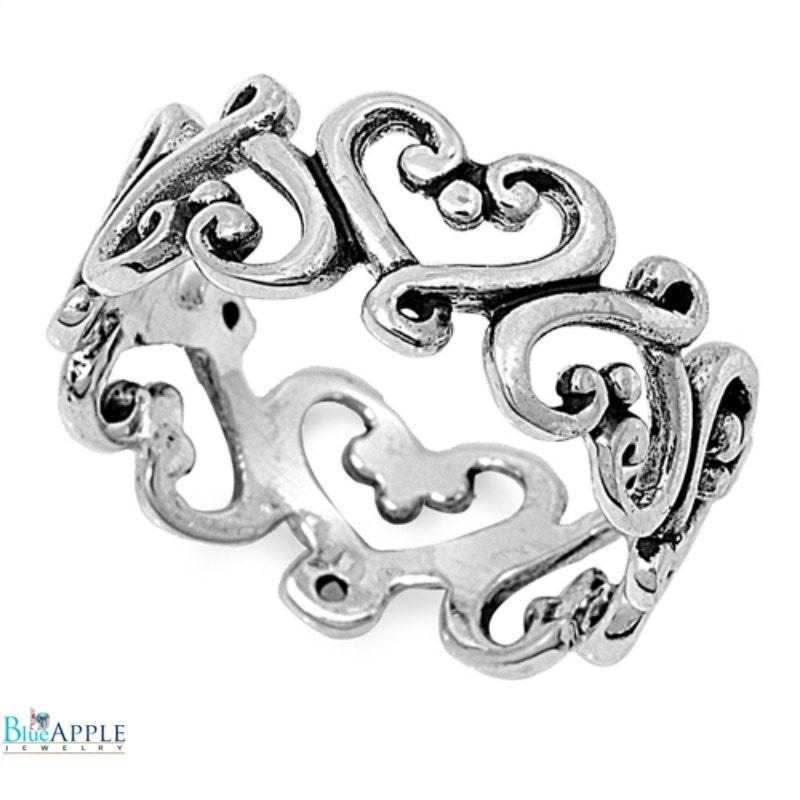 8mm filigree wedding engagement ring solid sterling
