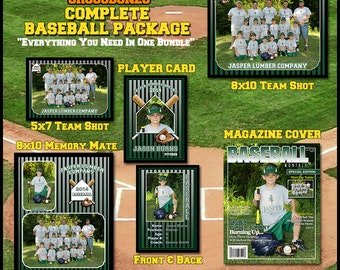 2017 Complete Baseball Template Package    Includes: Player Trading Card, Memory Mate, Magazine Cover, Group Shot  Photoshop Templates