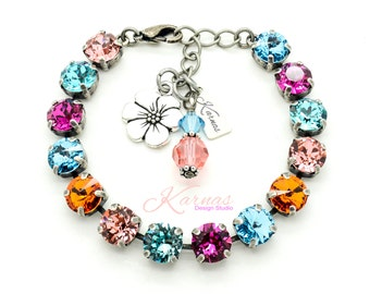 POOL PARTY 8mm Crystal Chaton Bracelet Made With Swarovski Elements *Pick Your Finish *Karnas Design Studio *Free Shipping*