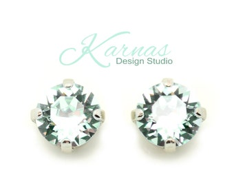 LIGHT AZORE 8mm Crystal Chaton Stud Earrings Made With Swarovski Elements *Pick Your Finish *Karnas Design Studio *Free Shipping*