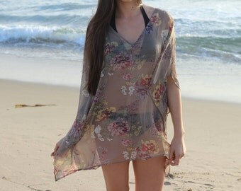 Women's swim cover up in printed georgette