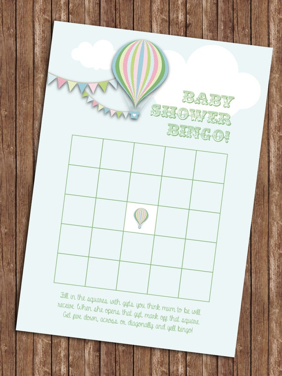 hot air balloon baby shower bingo game card in green mum spelling