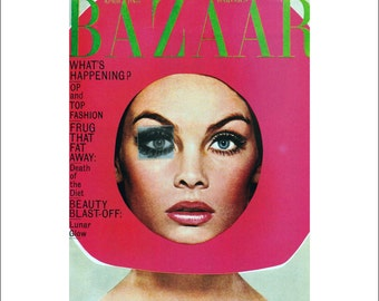 """Vintage Harper's Bazaar Cover Poster Print, Magazine Cover Fashion Art, Item 5442M 1960s Matted to 11"""" x 14"""""""
