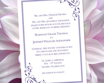 Printable Wedding Invitation Template  Elegance  Regency Purple   Word doc    Instant DownloadWedding Invitation Templates  Floral Petals  Coral. Regency Wedding Invitations. Home Design Ideas