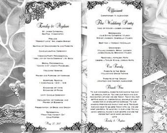 Wedding Program Template Vintage Lace Black White Printable Tea Length Order Of Service