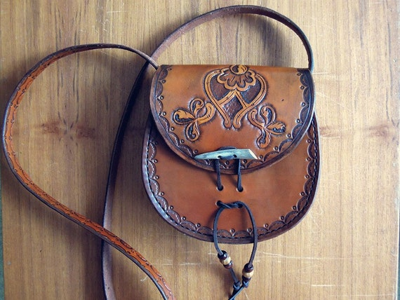brown leather bag, Handmade Leather Bag, Bohemian bag, Hippie leather bags, Womans gift, Shoulder bag, Vegetable tanned