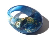 Resin Ring, Madeira Blue Ring, Gold Leaf Ring, 2016 Winter Jewelry, Ring Trends, Trending Jewelry, Modern Statement Rings, ResinHeavenUSA