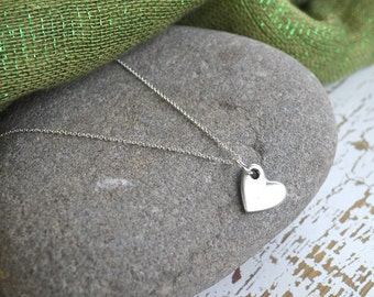 Pewter Heart Necklace Elegant Simple Suspended on Sterling silver filled chain