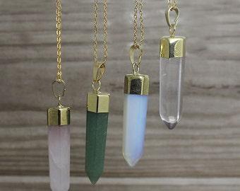 Gemstone Point Necklace /Rose Quartz /Opalite /Rock Quartz /Aventurine Pendant With Gold Electroplated /Layering Necklace Z2F6_02