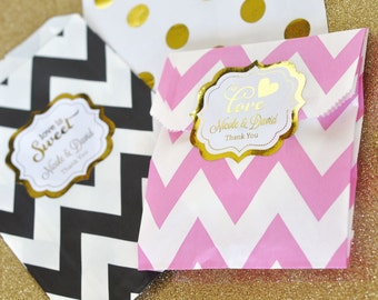 Personalized Favor Bags -  Love is Sweet Favor Bags - Personalized Candy Buffet Bags - Custom Gold Favor Bags 2| (EB2358FW) set of 24