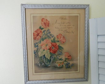 "Vintage Framed ""Happy Mother's Day"" Saying"