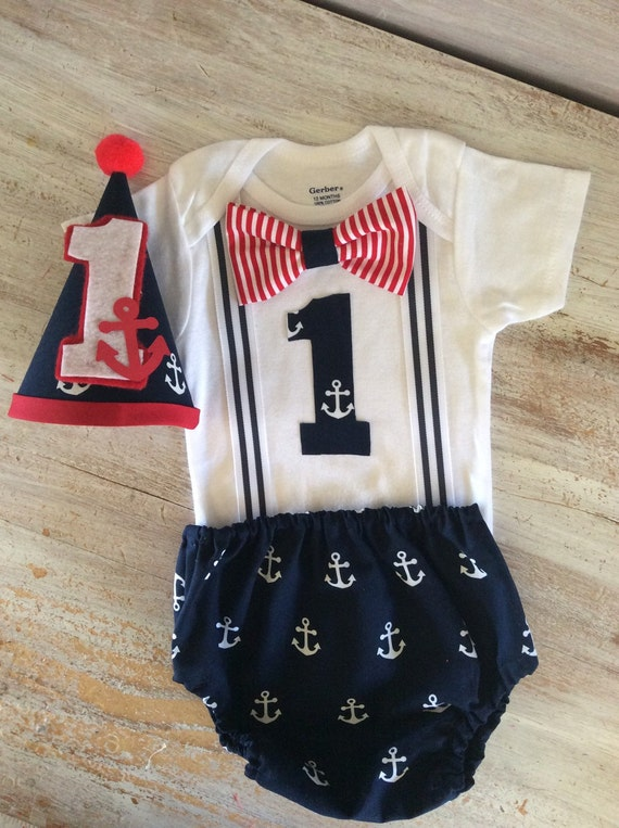 Nautical Anchor Suspender Onesie Cake Smash Outfit By
