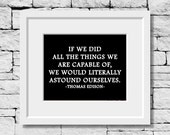 Thomas Edison Quote, Dreams Quote, Motivational Quote, Positive Thinking Quote, Classroom Print, Inspirational Quote