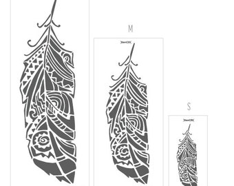 Forest Feathers wall stencil Multi pattern - Decorative Scandinavian Wall Stencils for DIY project - Tribal Home Decor, Bohemian Wall