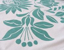 Baby Blanket Unisex Screen Printed Hungarian Floral Kalotaszeg Folk Pattern Newborn - Turquise-green