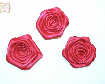 Fuchsia Satin Rolled Rosette 3 Pieces #D113