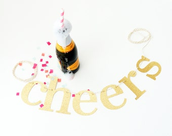 cheers banner • sign • cheers to • garland • gold banner • gold glitter banner • celebrate banner • bridal shower • wedding decor • bar cart
