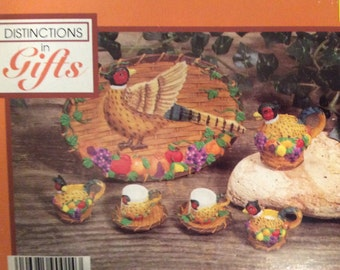 Vintage 10 pcs Mini Resin Tea set - Pheasant / In original box never used