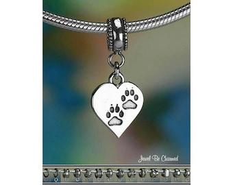 Heart Paw Print Charm or European Style Charm Bracelet Sterling Silver
