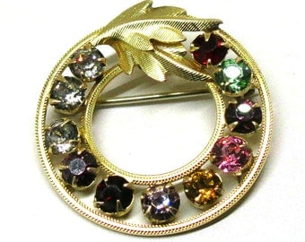 Gold Filled Rhinestone Brooch - Vintage, DCE Curtis Signed, 14K Gold Filled,  Multi-Colored Circular PIn