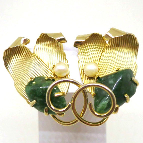 Jade Earrings Vintage Kramer Signed Gold Tone Jade And