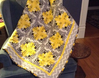 Quilt, Lap, Baby or Toddler quilt handmade , a quilt anybody would enjoy.Granny square design in grey and yellow colors soft and comfy like
