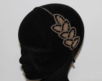 Vintage retro headband bridal wedding evening embroidered bridal wedding black gold beads Serre tête brodé de perles noires et or