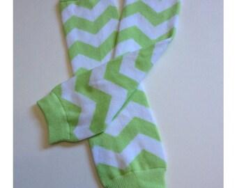Lime Green Chevron Baby Toddler Arm Leg Warmers Boys Girls Children Socks Legging NEW