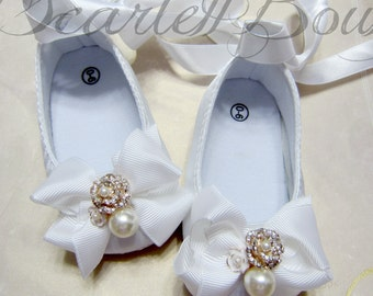 White Satin Baby Girl Shoes,Christening Shoes,Wedding Shoes