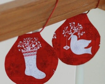 Christmas Garland, Red Garland, Staircase Garland, Red Christmas Decor