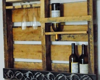 Rustic Vintage Wood Wall Mounted Pallet Wine Rack Bottle
