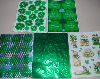 St. Patrick's Day Shamrock Leprechaun Stickers Sheets Set of 5