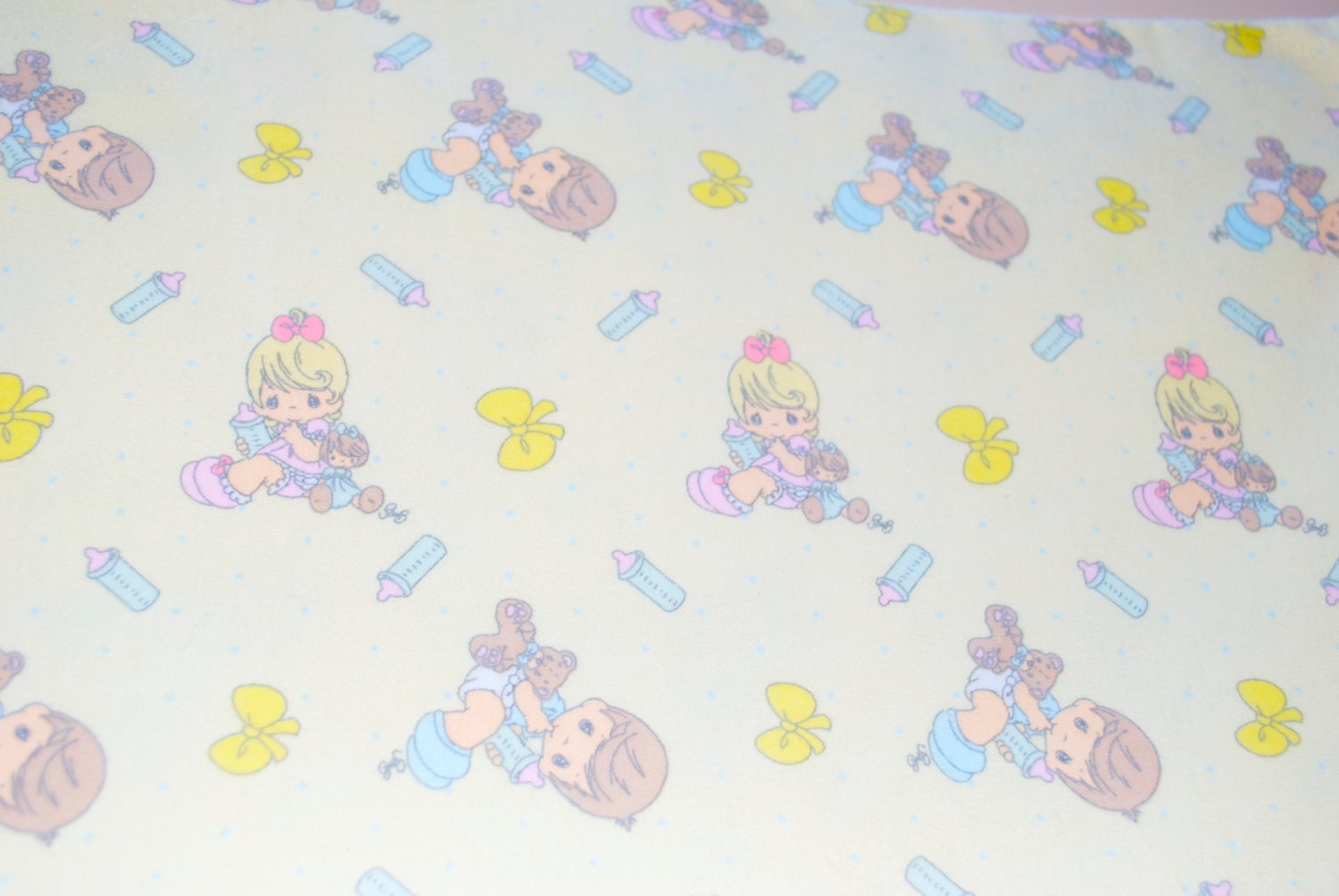Precious moments baby fabric flannel light yellow 2004 for Baby fabric by the yard