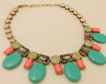 Gold Tone Turquoise Color Rhinestone Necklace