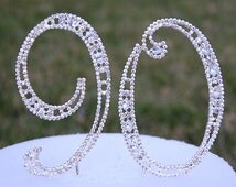 """New Large 5"""" Crystal Rhinestone NUMBER (90) Silver Cake Topper 19th Birthday Party 90 Anniversary Free Shipping CT900"""