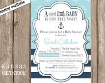 Baby Shower Invitation Boy Nautical Navy Stripes