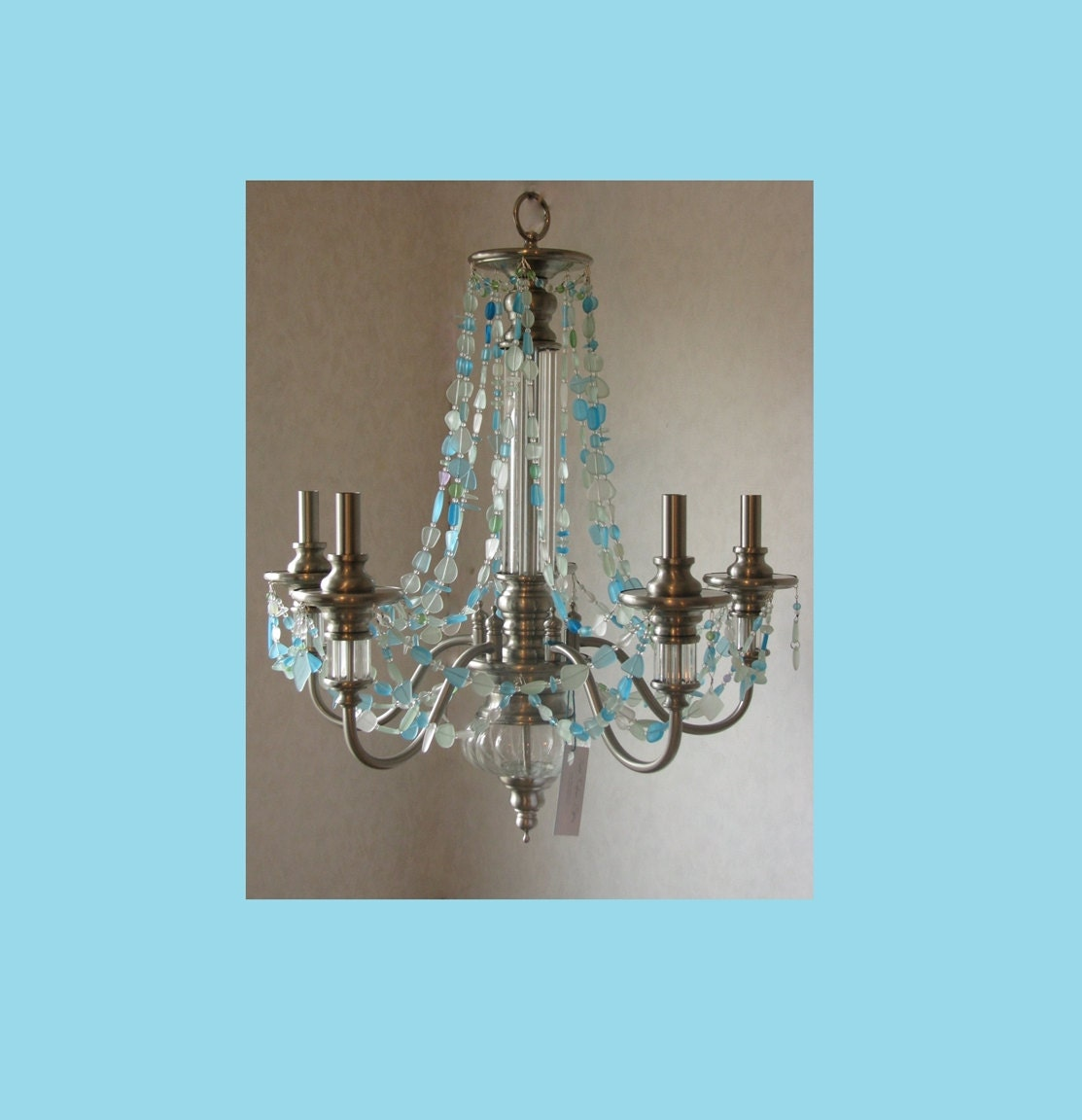 Chandelier Lighting Glass: Sea Glass Chandelier Coastal Ceiling Fixture 5 Light Seashore